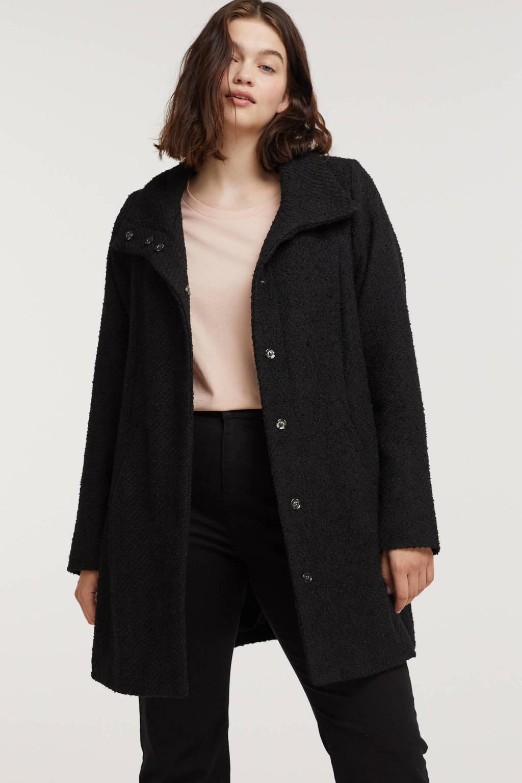 Zhenzi  coat ABRIL 000 met textuur zwart, Zwart
