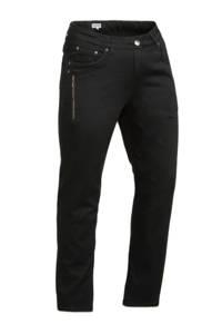 Zhenzi cropped straight fit broek zwart, Zwart