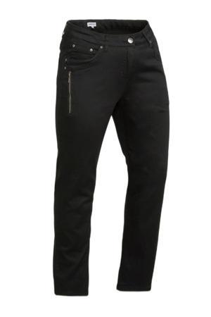 cropped straight fit broek zwart
