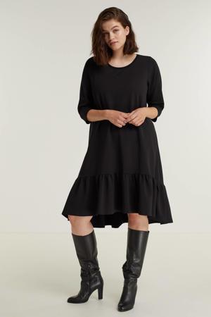 A-lijn jurk SIRE 079 met volant zwart