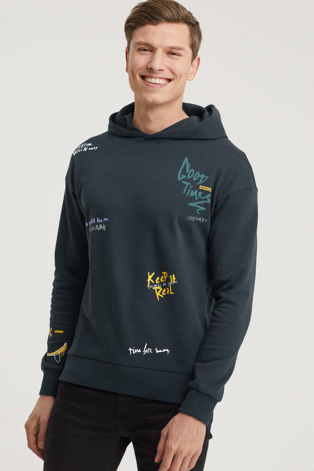 JACK & JONES ORIGINALS hoodie Urban met printopdruk zwart, Zwart