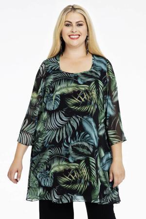 semi-transparante tuniek met bladprint zwart/groen/blauw