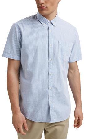 gestreept regular fit overhemd van biologisch katoen lichtblauw/wit