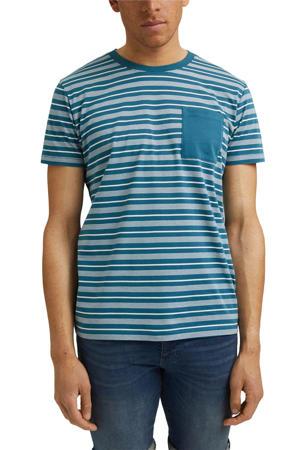 gestreept T-shirt van biologisch katoen turquoise