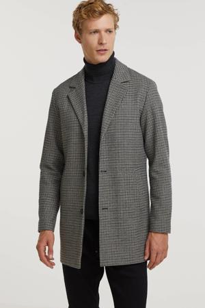 geruite  jas PKTHKT FRED met wol donkerblauw