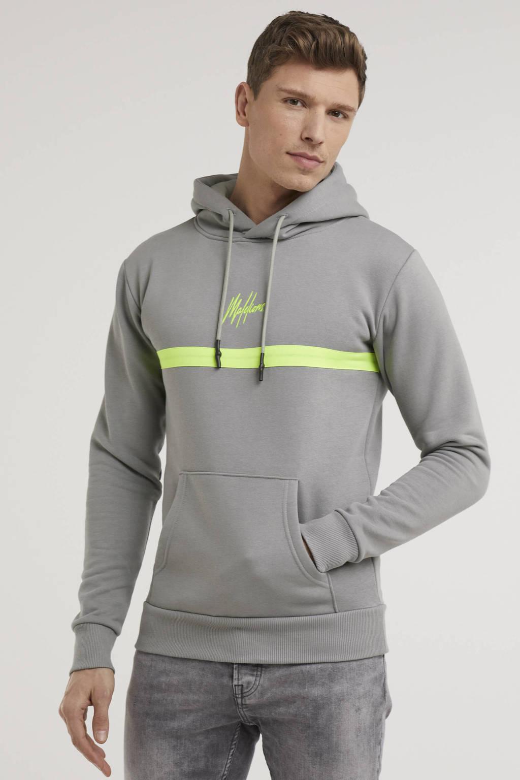 Malelions hoodie Tonny met logo grijs/neon geel, Grijs/neon geel