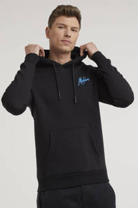 Malelions hoodie Double Signature met logo zwart/blauw, Zwart/blauw