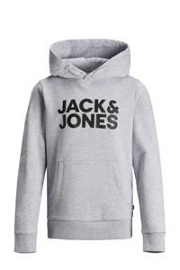 JACK & JONES JUNIOR hoodie Corp met logo grijs melange/zwart, Grijs melange/zwart