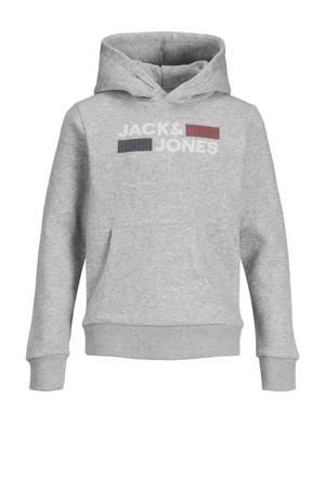 hoodie Corp met logo lichtgrijs melange