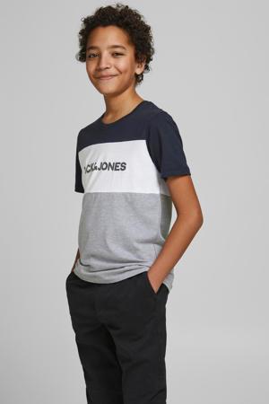 T-shirt JJELOGO met logo donkerblauw/wit/grijs melange