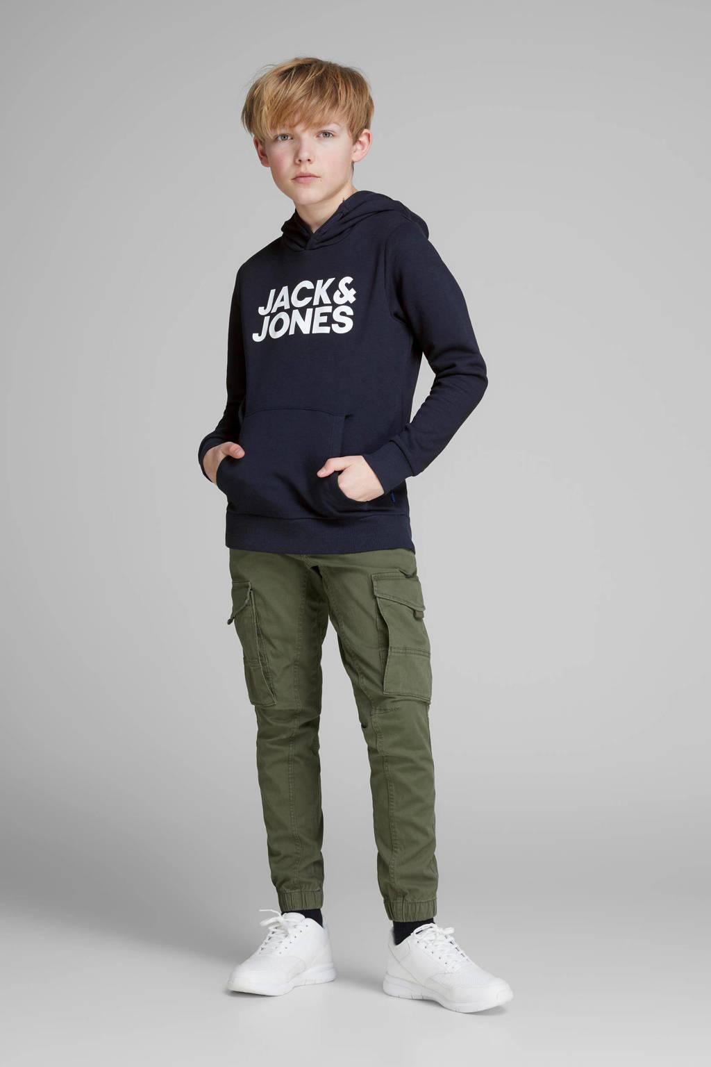 JACK & JONES JUNIOR hoodie JJECORP met logo donkerblauw/wit, Donkerblauw/wit