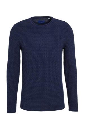 trui Julius met textuur donkerblauw