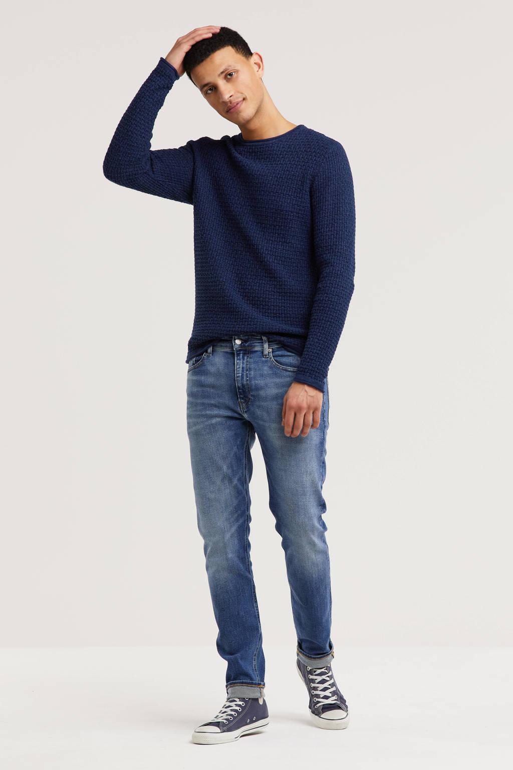 JACK & JONES ORIGINALS trui Julius met textuur donkerblauw, Donkerblauw