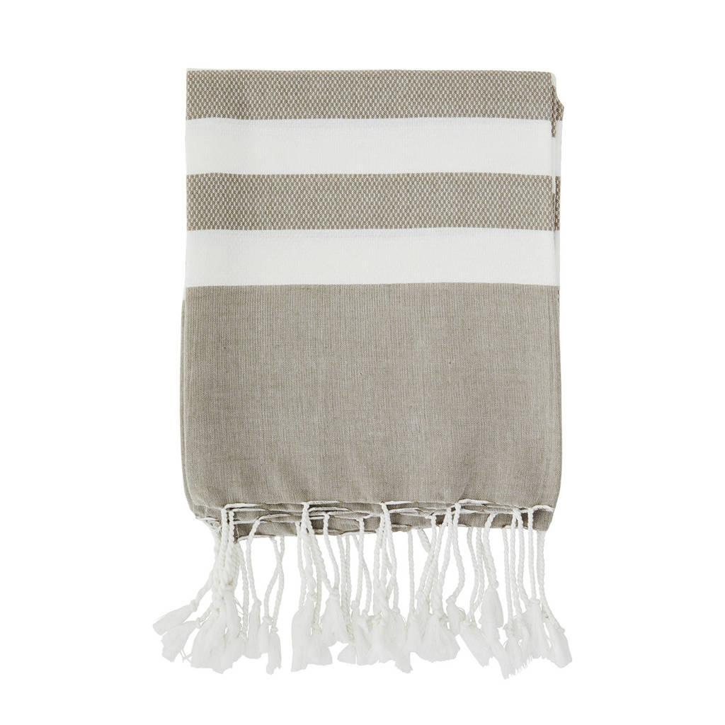 Madam Stoltz handdoek met streep (180 x 100 cm) Beige, wit