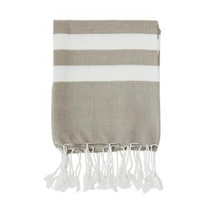handdoek met streep (180 x 100 cm) Beige, wit