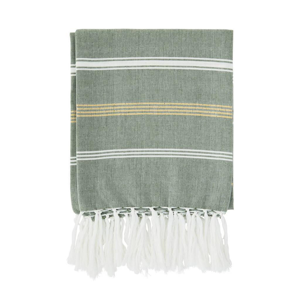 Madam Stoltz handdoek met streep (180 x 100 cm) Groen, wit, goud glitter