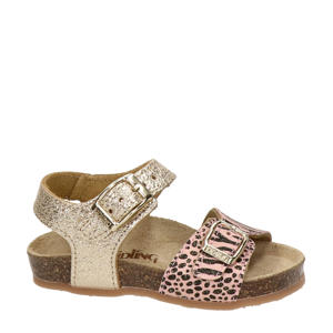 Rikulu 1  leren sandalen met zebraprint roze/goud
