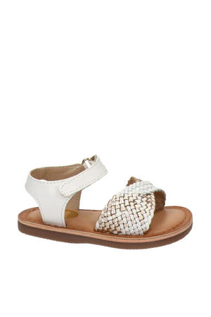leren sandalen wit/goud