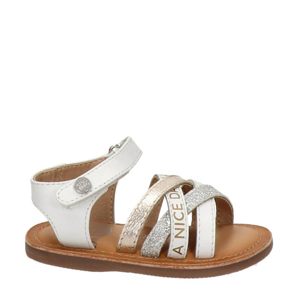 Gioseppo   leren sandalen met glitters wit, Wit/multi
