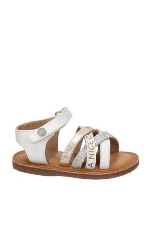 leren sandalen met glitters wit