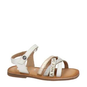 Otsego  leren sandalen met glitters wit