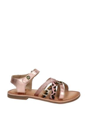 leren sandalen met glitters roze