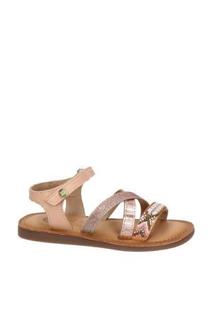 leren sandalen met glitters roségoud