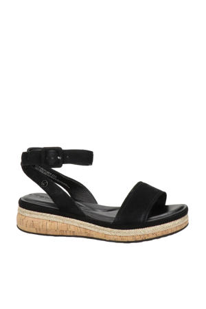 suède plateau sandalen zwart