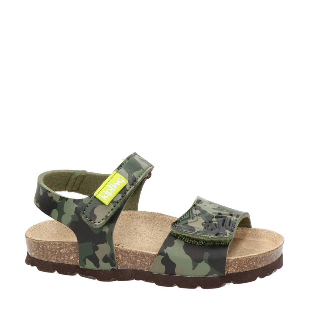 Kipling Nubbi 3  sandalen met camouflageprint, Groen