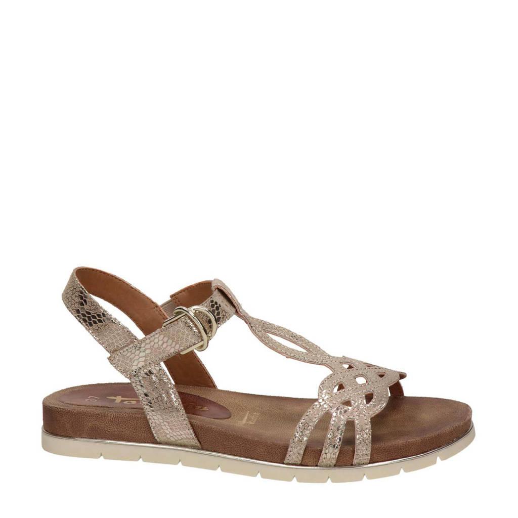 Tamaris   sandalen met slangenprint roségoud