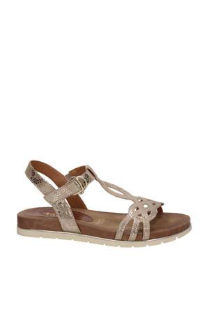 sandalen met slangenprint roségoud