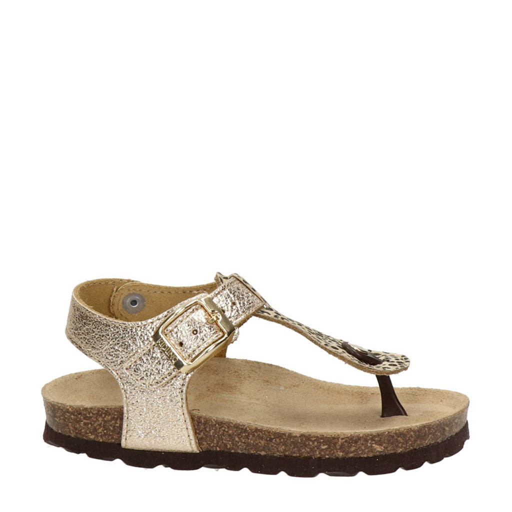 Kipling Rikulu 4  leren sandalen met panterprint goud, Goud