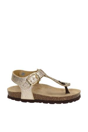 Rikulu 4  leren sandalen met panterprint goud