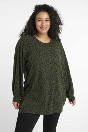 sweater met dierenprint donkergroen/zwart