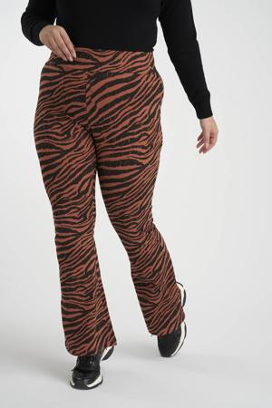 flared broek met zebraprint roodbruin/zwart