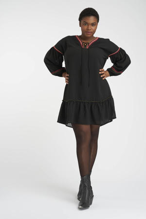 semi-transparante jurk met borduursels zwart/rood/olijfgroen