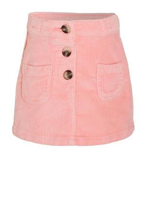 ribgebreide rok roze