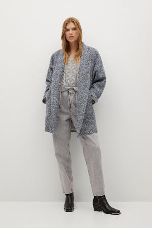 wollen  coat met visgraat blauw