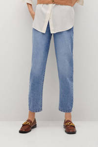 Mango cropped high waist mom jeans light blue, Light Blue