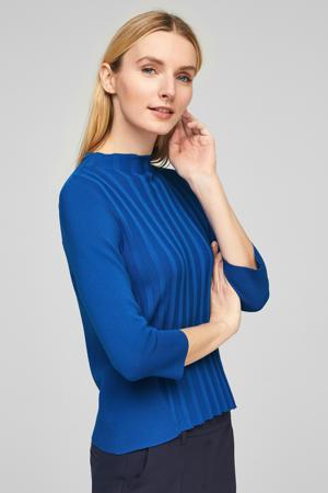ribgebreide trui blauw
