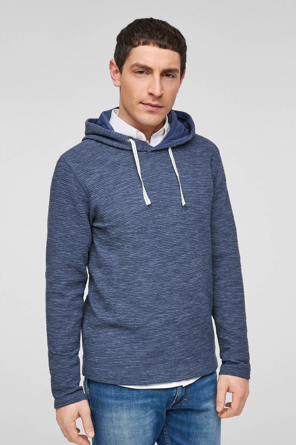 s.Oliver gemêleerde ribgebreide hoodie blauw, Blauw