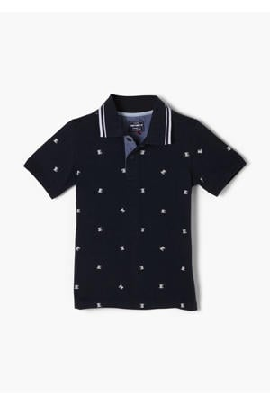 polo met all over print marine/wit