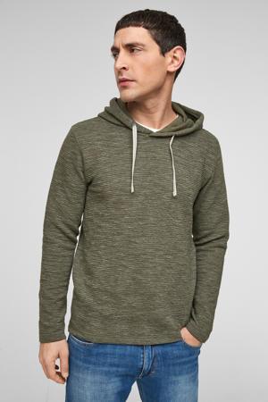 gemêleerde ribgebreide hoodie donkergroen