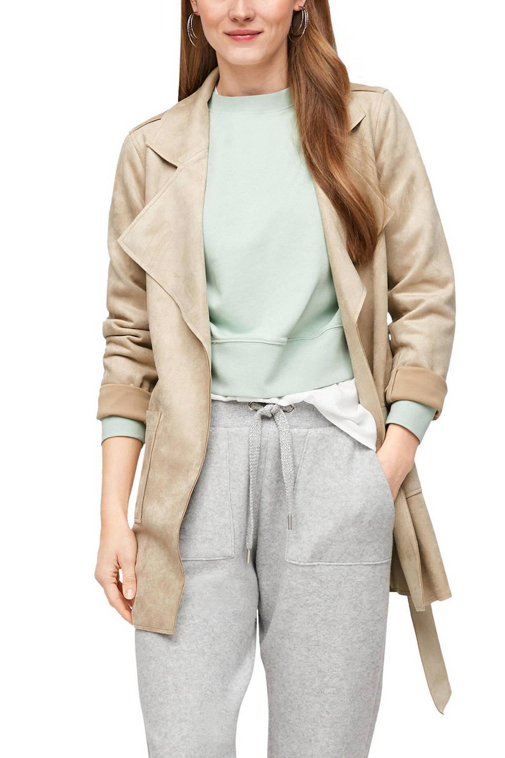 Q/S designed by  coat tussen met ceintuur beige, Beige