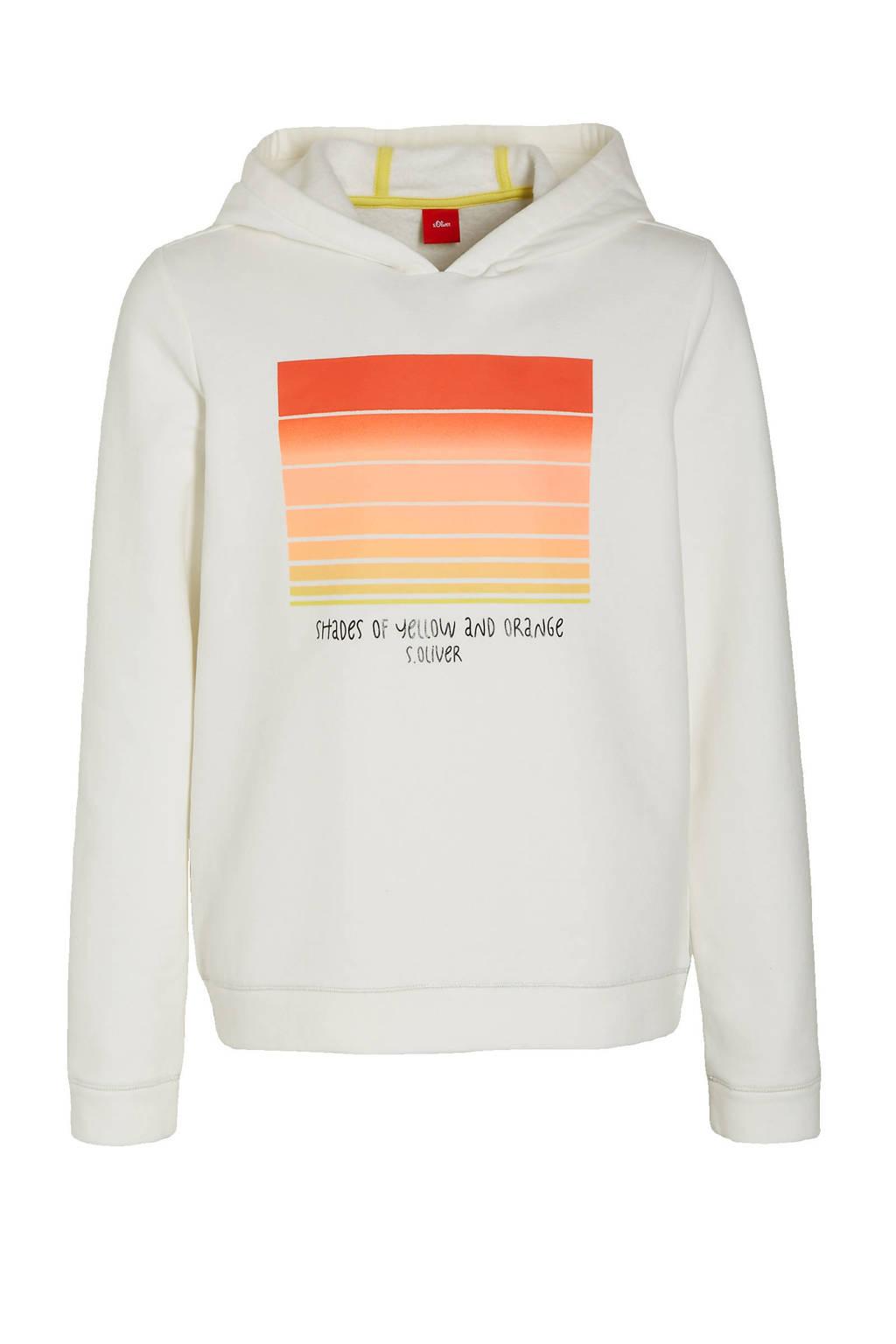 s.Oliver hoodie met printopdruk off white/rood/geel, Off white/rood/geel