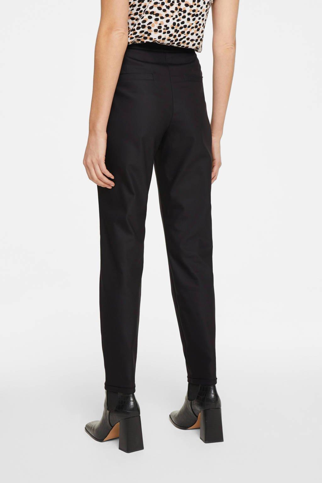comma high waist tapered fit pantalon zwart, Zwart