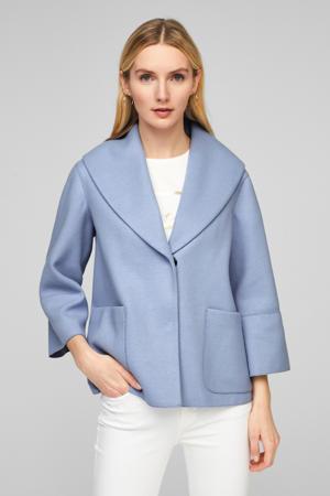 coat tussen met wol lichtblauw
