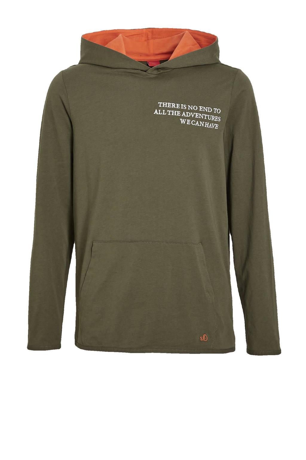 s.Oliver hoodie met tekst groen, Groen