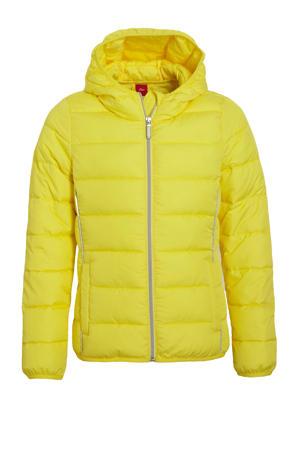 gewatteerde zomerjas met contrastbies lichtgeel