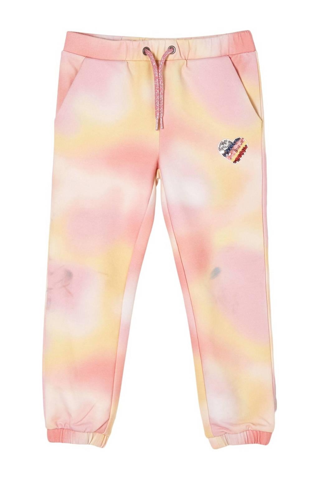 s.Oliver tie-dyeregular fit joggingbroek geel/oranje/roze